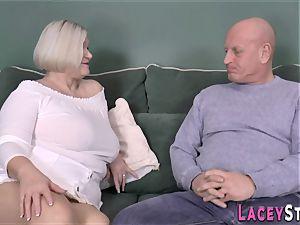 breast banging brit granny