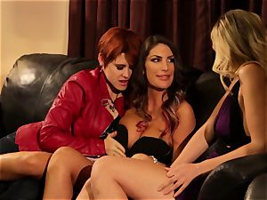August Ames and Lily Cade strap on couch intercourse