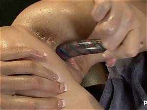 mind-blowing black-haired seducing her massagist