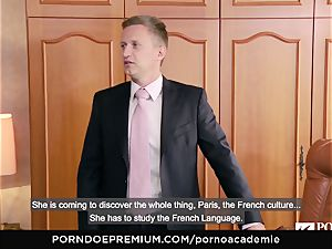 porno ACADEMIE Lana Rhoades enjoys boinking French meatpipe