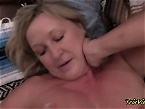 Mommys mate blows a load Over