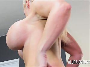 large titty pornstar Alura Jenson pounds a dangled junior guy