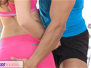 FitnessRooms Gym professor pulls down her yoga trousers
