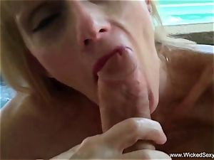 oral pleasure In The Backyard Pool From mother