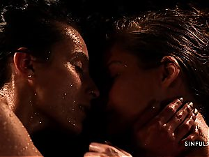 wet and sensual lesbo sequence with 2 outrageous honeys