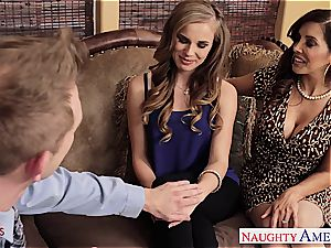 Jillian and Francesca share his large beef whistle in their fuck holes
