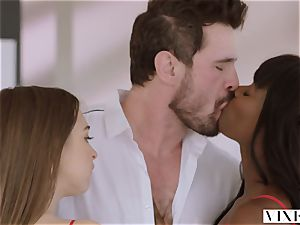 VIXEN Riley Reid has strong 3some with Ana Foxxx and boyfriend