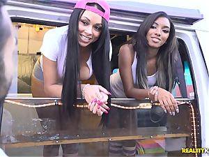 Raven Wylde and Bethany Benz facial cumshot in ice splooge truck get coochie drilled