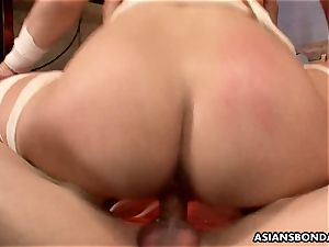 asian red-haired is bandaged and gang-fucked