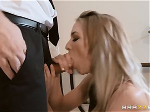 Aiden Ashley drooling on a hefty fuck-stick