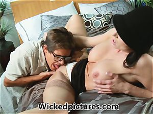 Kendra enthusiasm helps out a horny stud with his problem