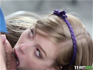 young college girl Dolly Leigh gets her lil' vag pulverized on the desk at school
