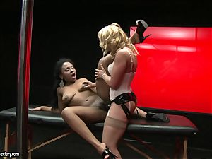 harsh Kathia Nobili thrusts her cord on knob deep down her counterpart gullet