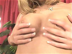 Pretty Victoria shine toying with a gigantic crimson fake penis