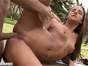 youthful slender fitness chick has lovemaking in public park