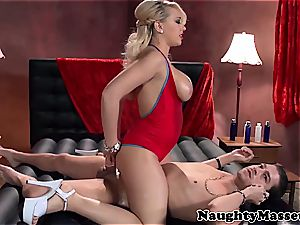 busty massagist takes care of her client
