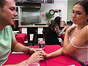Melissa Moore gets a meatpipe kebab under the table at the local food joint
