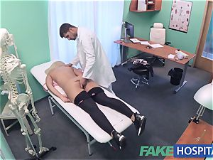 FakeHospital huge-titted Russian stunner guzzles cumload