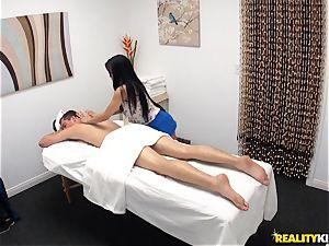 crazy masseur blows off her patient