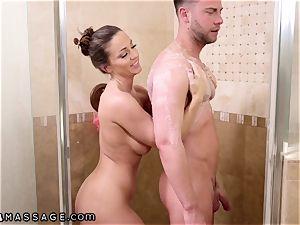NuruMassage Abigail Mac begs Step-Bro to Get in bathroom