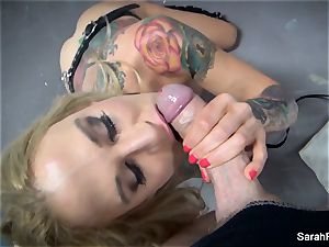 point of view suck off with blindfolded milf Sarah Jessie