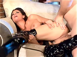 busty mummy fuckin' in hip high shoes and gloves