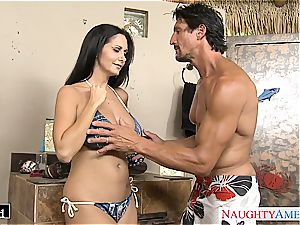 Ava Addams places his man meat between her fat bosoms