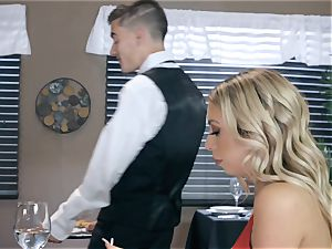 cool light-haired Kat Dior railing on a firm sausage