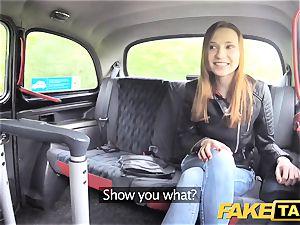 faux taxi slender ginger-haired enjoys tough romp