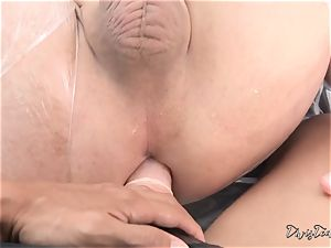 Dana mistreats her man with a giant fake penis
