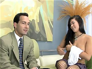London fucked on a sofa in fishnet stocking