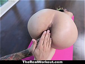 youthful Latina poon stretched out during exercise