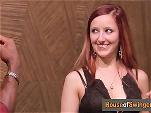 Ginger wife meets naughty boy who frigs her labia in the living apartment
