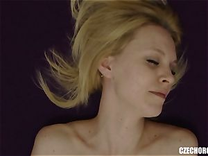 light-haired Czech girl Plays with vagina