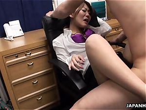 torn up in the office in her supah hairy moist twat