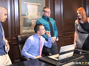 ginger-haired secretary Siri gets her colleagues ginormous hard-on