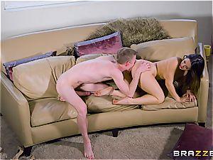 Miss Eva Lovia spreads her gams for big man-meat