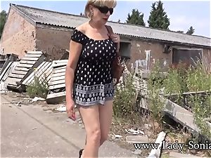enormous hooter blond doll Sonia demonstrating in public