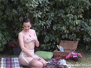honey picnic displaying stiff breasts trim cunny retro nylons