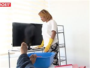 LETSDOEIT - teen Latina Maid point of view plowed By a big black cock