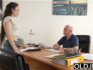 girl porked by aged guy Office inhale fellatio