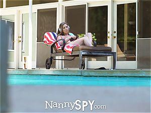 NannySpy Exhibitionist buxom sitter Lena Paul pummeled