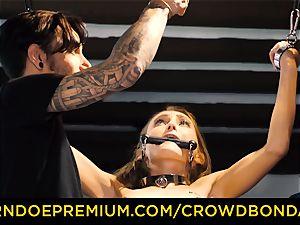 CROWD restrain bondage small slave nympho fetish group fuck-a-thon