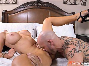 insatiable stunner Nikki Benz gets a humungous cumload on her mounds