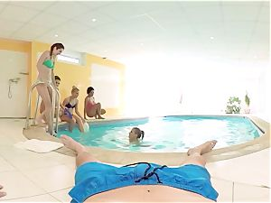 VR PORN-Five sizzling russian nymphs share one fuckpole