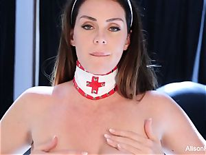 big-titted nurse Alison toys her raw twat