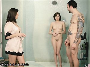 Caught My hubby Showering with masseuse and I Joined