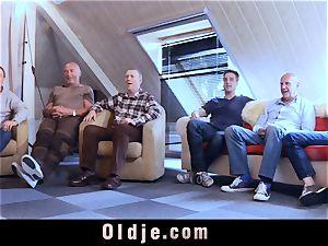 6 oldman pulverizing in group a handsome molten platinum-blonde