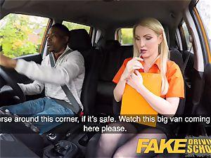 faux Driving school lengthy black lollipop satisfies platinum-blonde