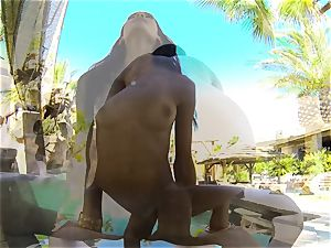 swimsuit bombshell Chloe Amour romped after a dip in the pool